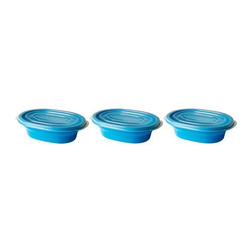 RÄTA Burk med lock , blå, transparent vit Rymd: 0.4 l Antal i förpackning: 3 styck