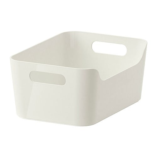 RATIONELL VARIERA Låda IKEA Försedd med handtag; kan enkelt placeras i en låda, på ett hyllplan eller ställas på bänkskivan.