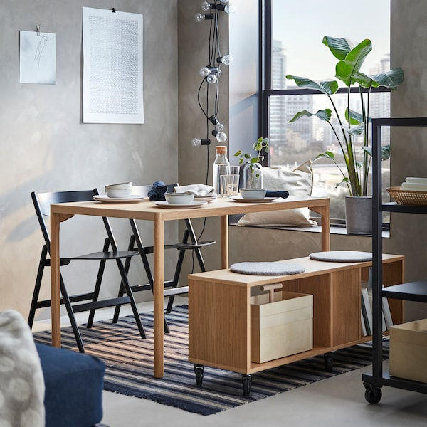 RÅVAROR Matbord, ekfaner, 130x78 cm