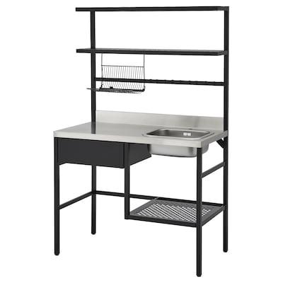 RÅVAROR Minikök, svart, 112x60x178 cm