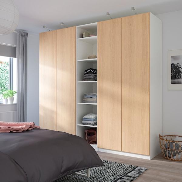 REPVÅG Dörr med gångjärn, vitlaserad ekfaner, 50x229 cm