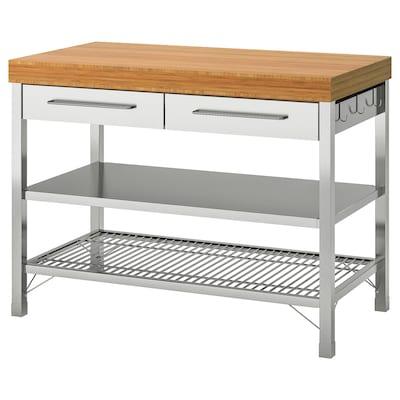 RIMFORSA Arbetsbord, rostfritt stål/bambu, 120x63.5x92 cm