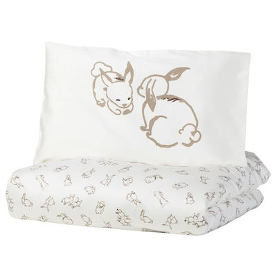 RÖDHAKE Påslakan 1 örngott för spjälsäng, kaninmönster/vit/beige, 110x125/35x55 cm