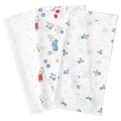 RÖDHAKE Tvättlapp, prickar/blåbärsmönster, 30x30 cm