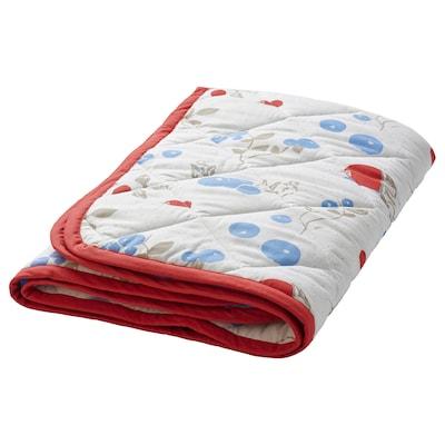 RÖDHAKE Vadderad filt, kanin-/blåbärsmönster/vit/röd, 96x96 cm