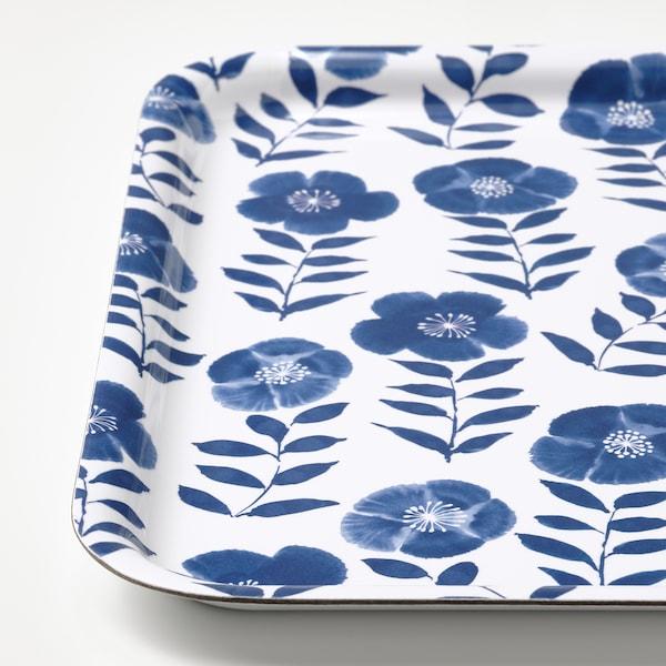 ROSENHÄTTA Bricka, blommönstrat/blå, 33x33 cm