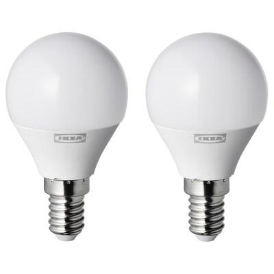RYET LED ljuskälla E14 250 lumen, klot opalvit, 2 styck