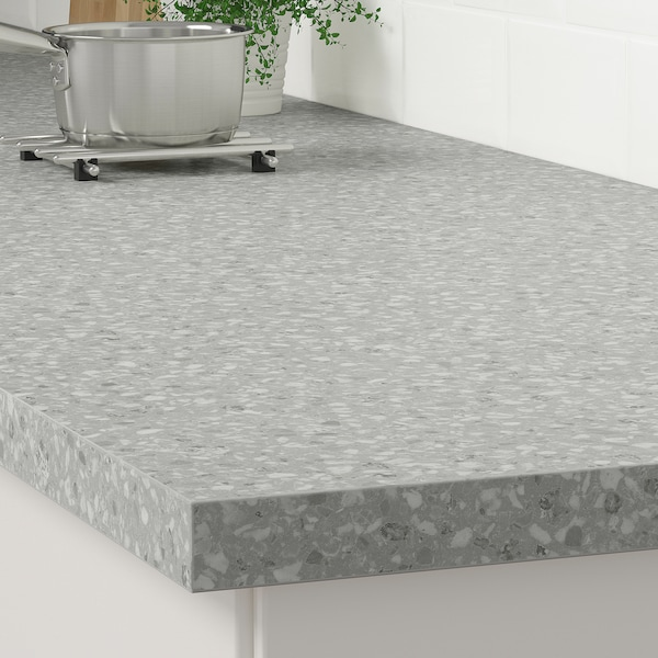 SÄLJAN Bänkskiva, ljusgrå mineralmönster/laminat, 186x3.8 cm