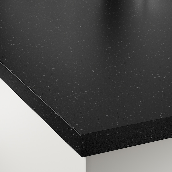SÄLJAN Bänkskiva, svart mineralmönster/laminat, 186x3.8 cm