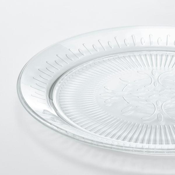 SÄLLSKAPLIG Assiett, klarglas/mönstrad, 20 cm