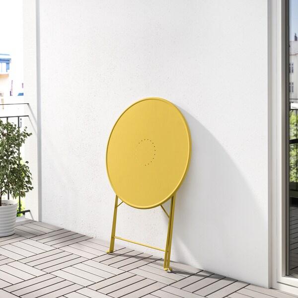 SALTHOLMEN Bord, utomhus, hopfällbar/gul, 65 cm
