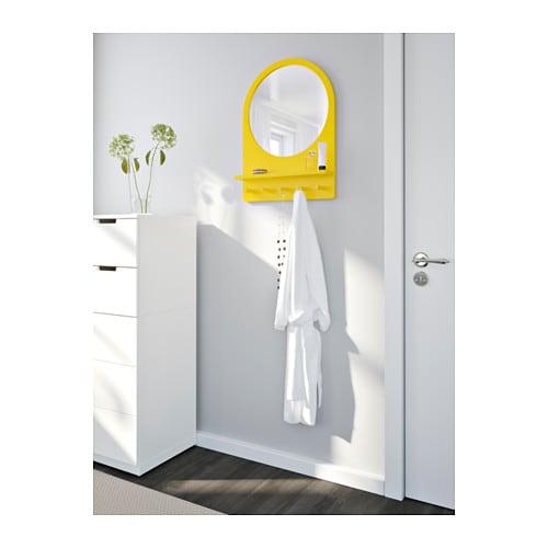 SALTRÖD Spegel med hylla och krokar gul IKEA