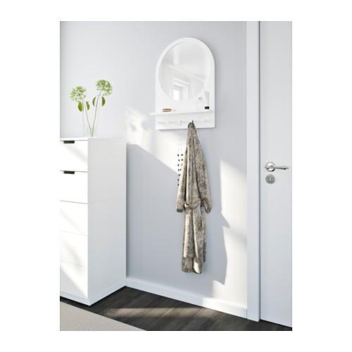 SALTRÖD Spegel med hylla och krokar vit IKEA