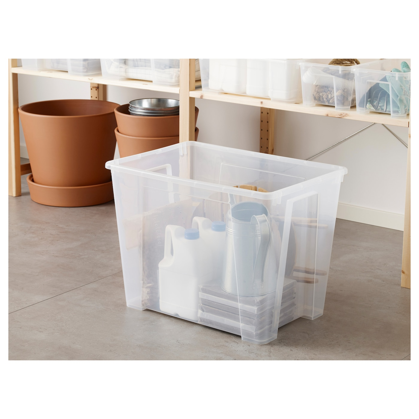 SAMLA låda transparent 56 cm 39 cm 42 cm 65 l