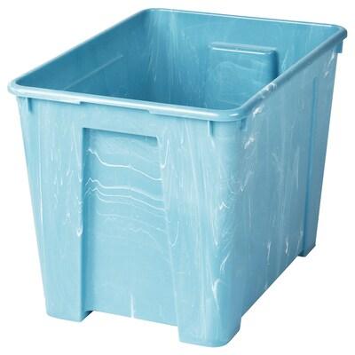 SAMLA Låda, blå marmormönstrad, 39x28x28 cm/22 l