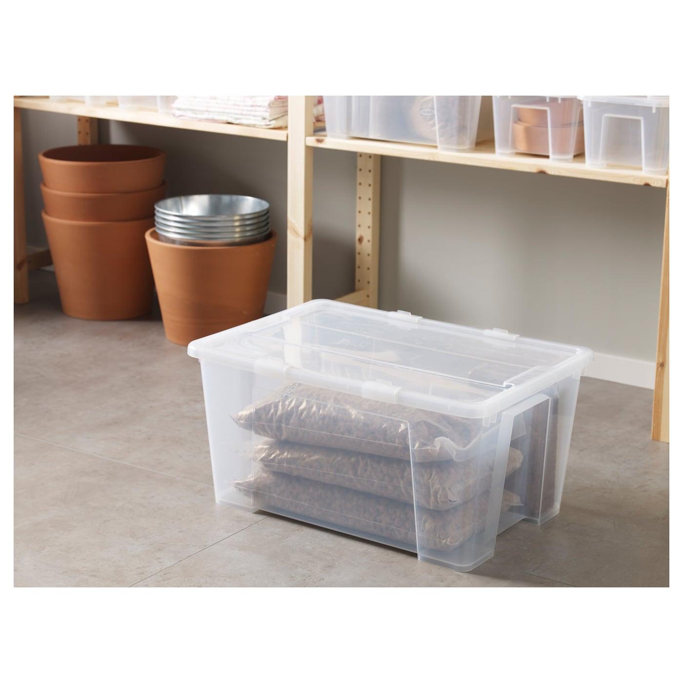 SAMLA Låda med lock, transparent, 57x39x28 cm/45 l