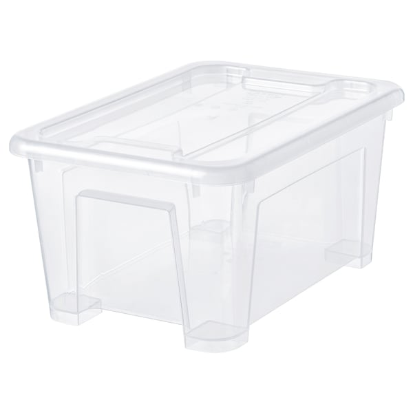 SAMLA Låda med lock, transparent, 28x20x14 cm/5 l