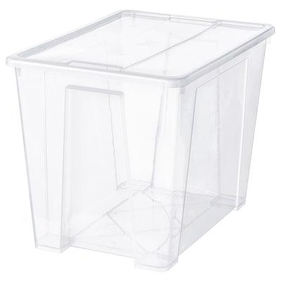SAMLA Låda med lock, transparent, 57x39x42 cm/65 l