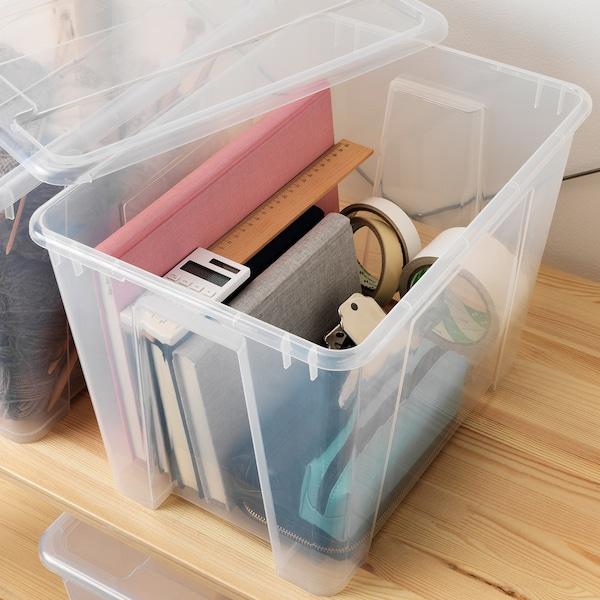 SAMLA Låda, transparent, 39x28x28 cm/22 l