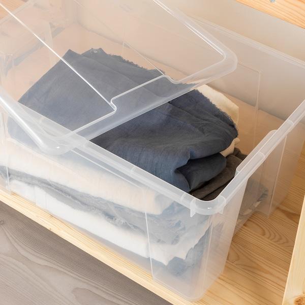 SAMLA Låda, transparent, 56x39x28 cm/45 l