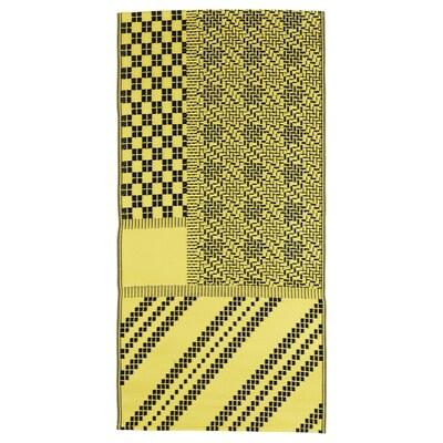 SAMMANKOPPLA Matta, slätvävd, gul/svart, 75x150 cm