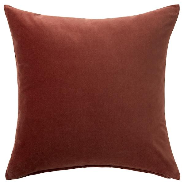 SANELA Kuddfodral, röd/brun, 50x50 cm