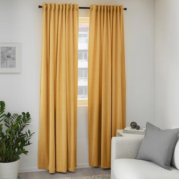 SANELA Rumsförmörkande gardiner, 1 par, gyllenbrun, 140x250 cm