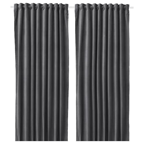 SANELA Rumsförmörkande gardiner, 1 par, mörkgrå, 140x250 cm