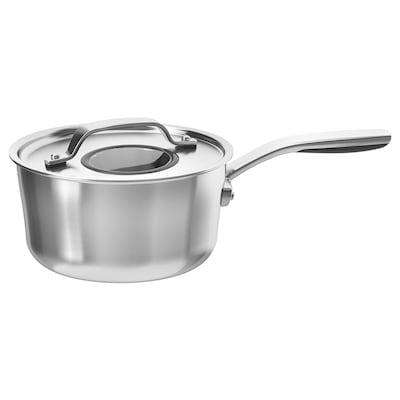 SENSUELL Kastrull med lock, rostfritt stål/grå, 2.4 l