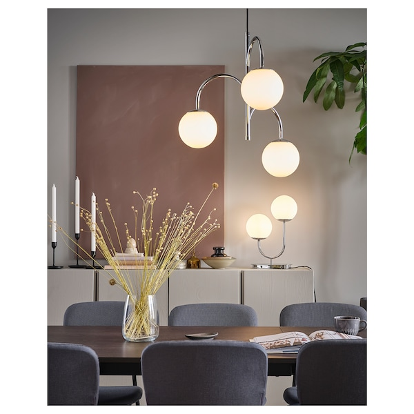 SIMRISHAMN Bordslampa, förkromad, opalvit glas, 42 cm IKEA