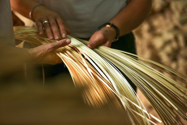 SINNERLIG Taklampa, bambu/handgjord