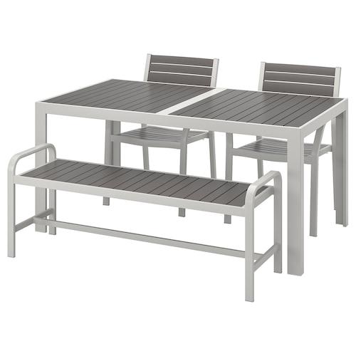IKEA SJÄLLAND Bord+2 karmstolar+ bänk, utomhus