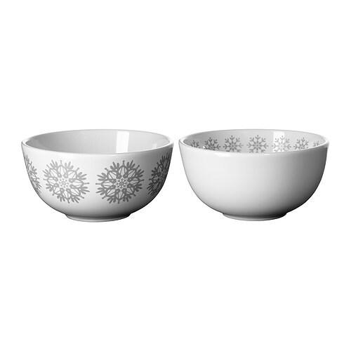 SKÄCK Serveringsskål, vit, grå Diameter: 12 cm Höjd: 6 cm Antal i förpackning: 2 styck