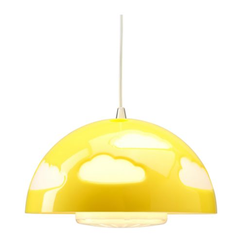 SKOJIG Taklampa, gul Diameter: 36 cm Sladdlängd: 1.4 m
