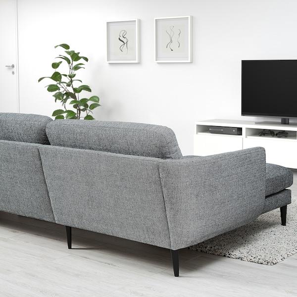SKULTORP 4-sitssoffa, med schäslong/svart/vit svart