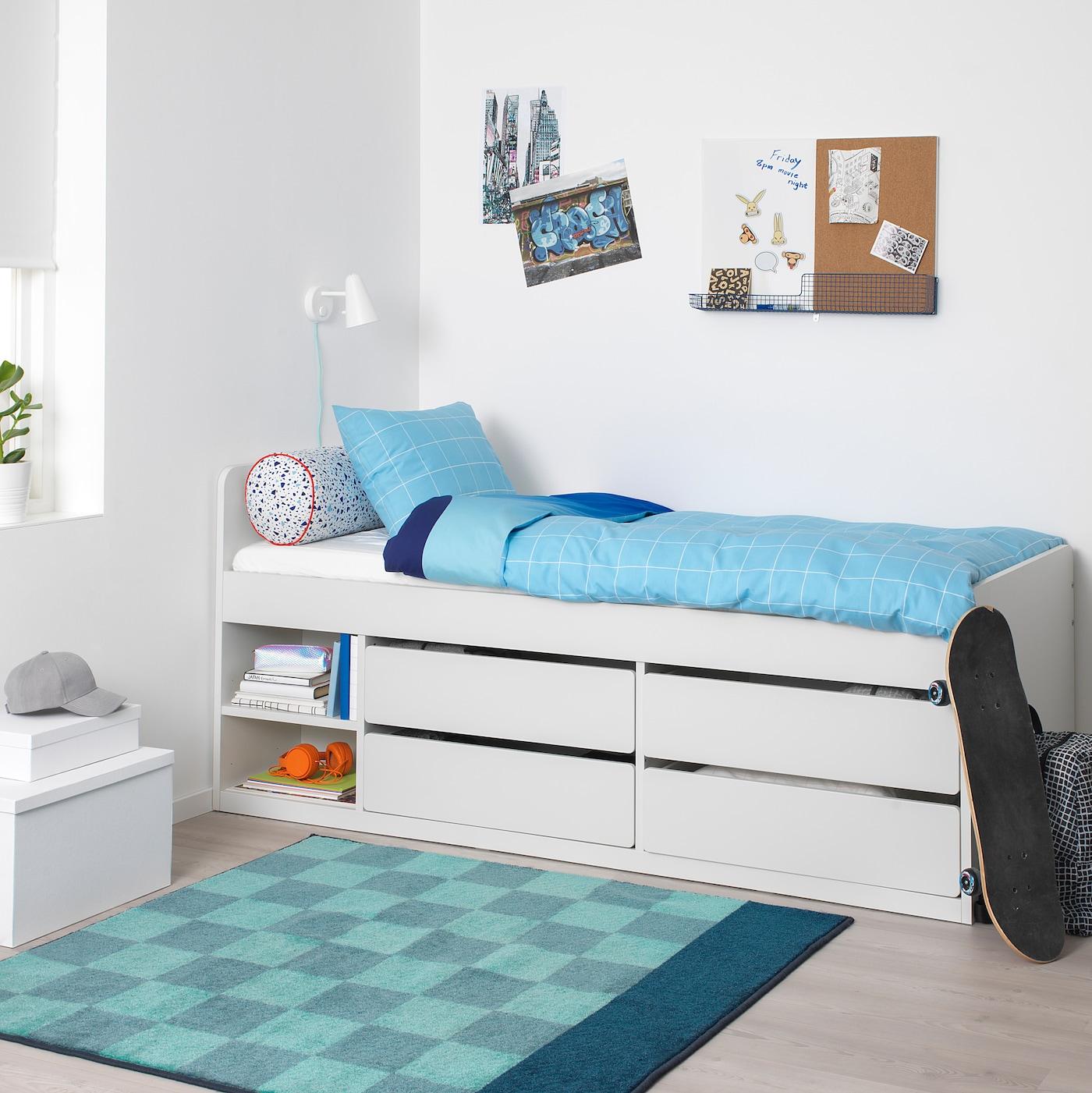 SLÄKT Sängstomme m förvaring+ribbotten, vit, 90x200 cm