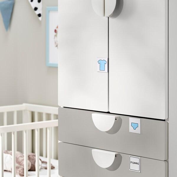 SMÅSTAD Garderob, vit grå/med 4 lådor, 60x57x181 cm