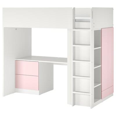 SMÅSTAD Loftsäng, vit blekrosa/med skrivbord med 3 lådor, 90x200 cm