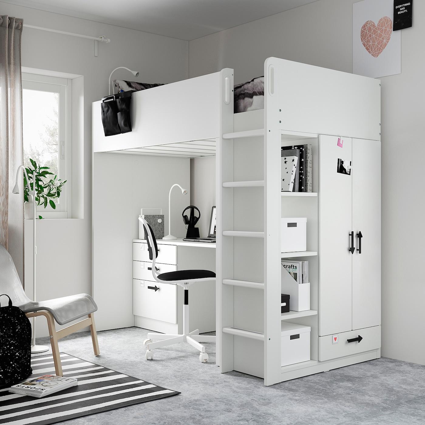 SMÅSTAD Loftsäng, vit vit/med skrivbord med 4 lådor, 90x200 cm