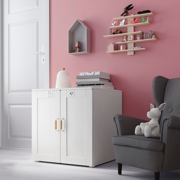 SMÅSTAD / PLATSA Skåp, vit med ram/med 1 hyllplan, 60x55x63 cm
