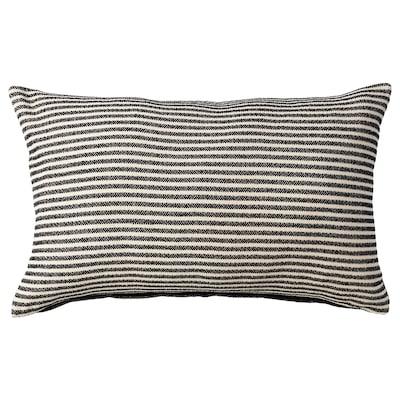 SNÖFRID Kuddfodral, svart/off-white, 40x65 cm