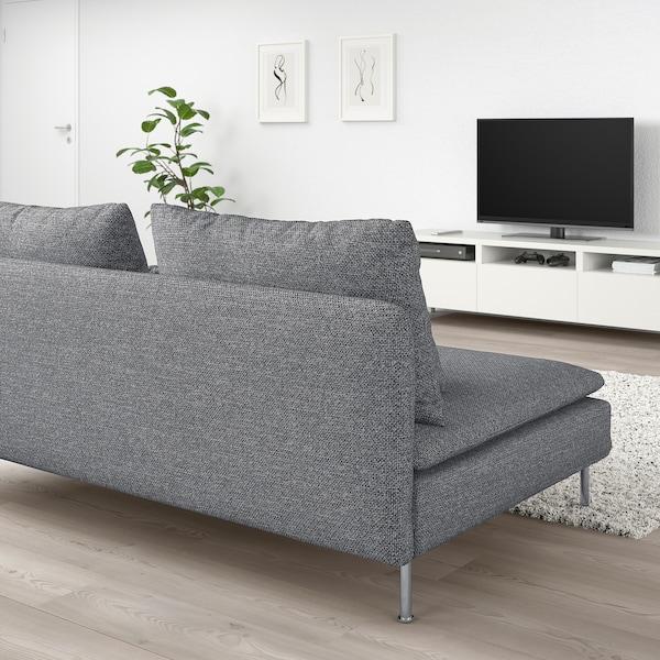SÖDERHAMN 3-sits sektion Lejde grå/svart 186 cm 99 cm 83 cm 186 cm 48 cm 40 cm