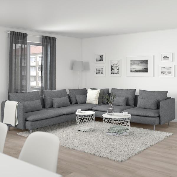 SÖDERHAMN Hörnsoffa, 6-sits, Lejde grå/svart