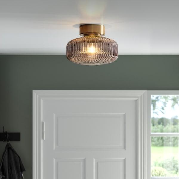 SOLKLINT Plafond, mässing/grå klarglas, 27 cm