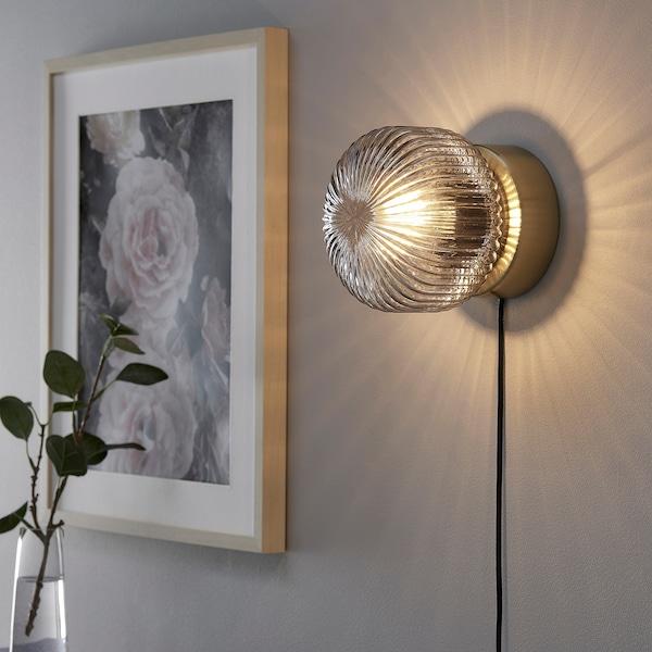 SOLKLINT Bordslampa mässinggrå klarglas IKEA