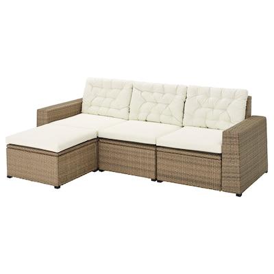 SOLLERÖN 3-sits modulsoffa, utomhus, med fotpall brun/Kuddarna beige