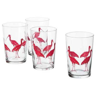 SOMMARLIV glas mönstrad/fågel 12.5 cm 46 cl 4 styck