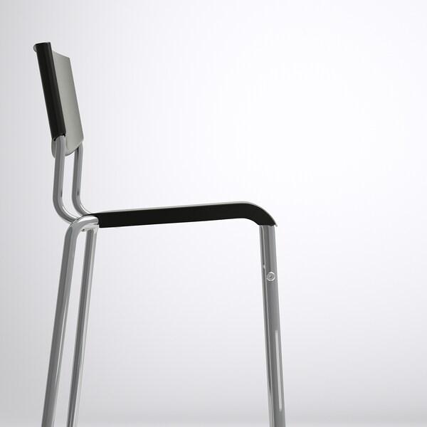 STIG Barstol, svart/silverfärgad, 63 cm
