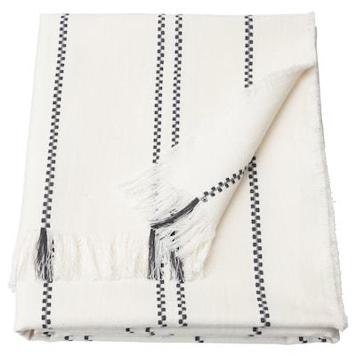 STINAMAJ Pläd, vit/mörkgrå, 130x170 cm