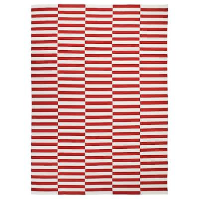 STOCKHOLM 2017 Matta, slätvävd, handgjord/randig röd, 250x350 cm
